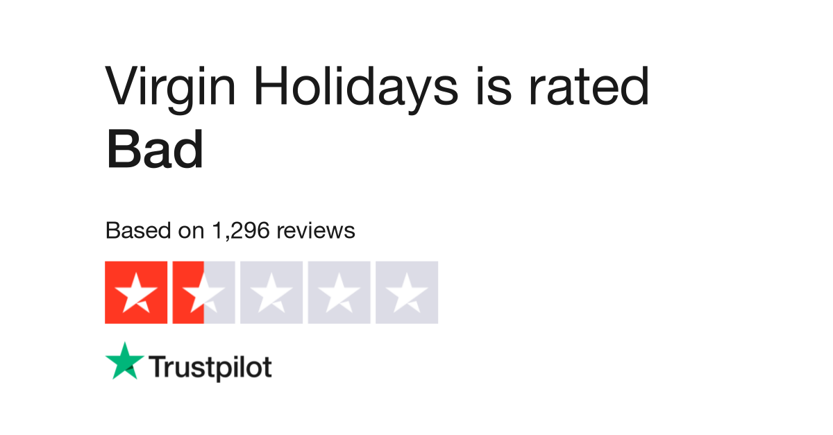 "Virgin Holidays is rated ""Bad"" with 1.4 / 10 on Trustpilot"