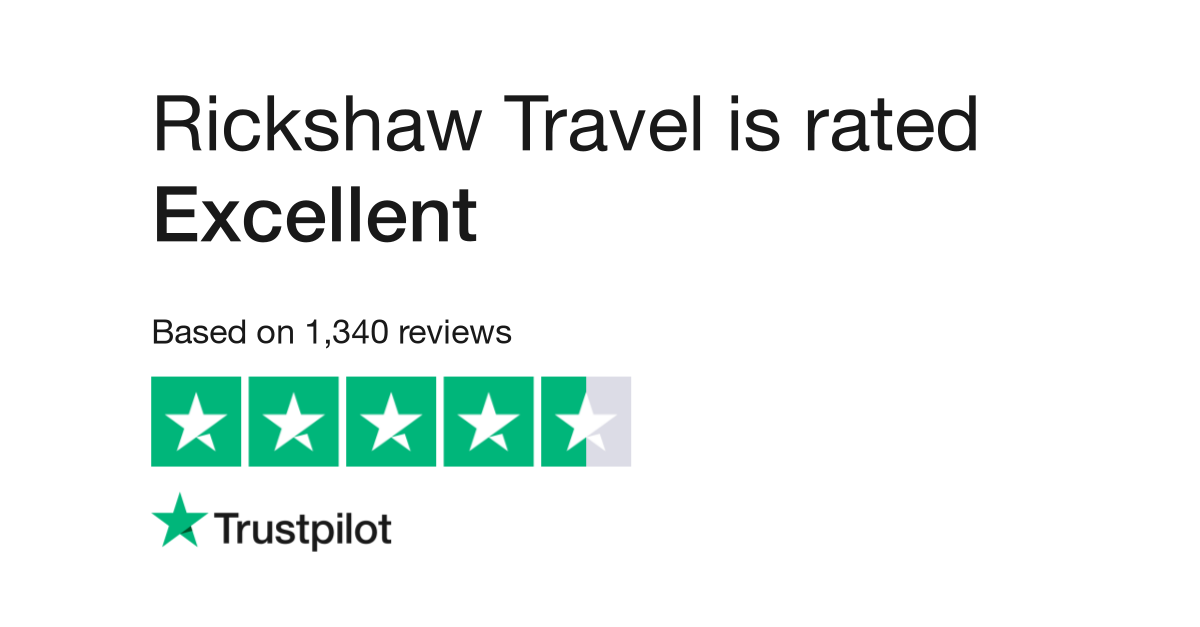 "Rickshaw Travel is rated ""Excellent"" with 9.5 / 10 on Trustpilot"
