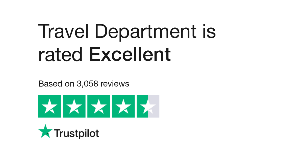 """Travel Department is rated """"Excellent"""" with 9.4 / 10 on Trustpilot"""