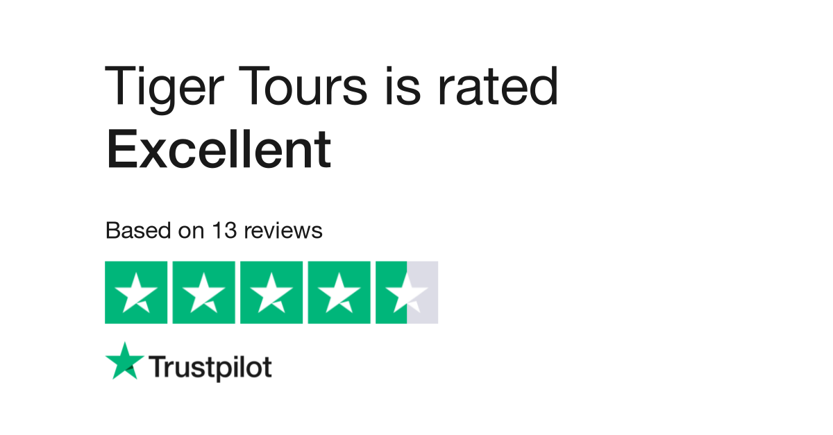 "Tiger Tours is rated ""Great"" with 8.4 / 10 on Trustpilot"