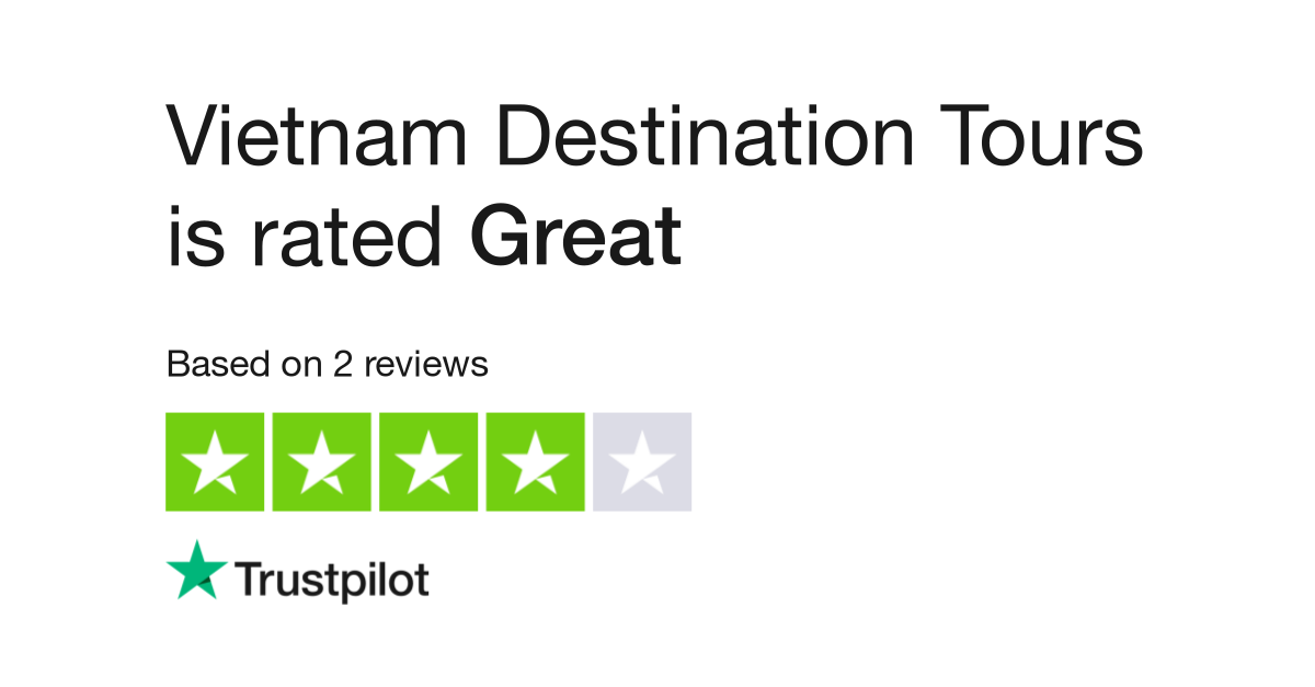 "Vietnam Destination Tours is rated ""Great"" with 7.4 / 10 on Trustpilot"